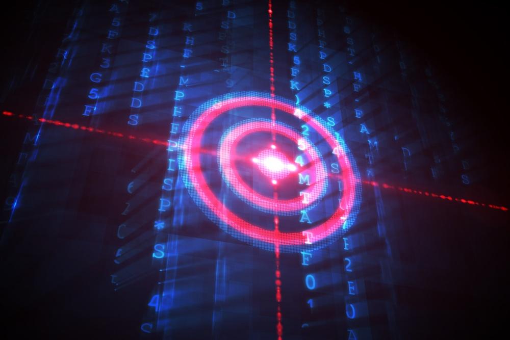 Digital target over computing matrix on black background