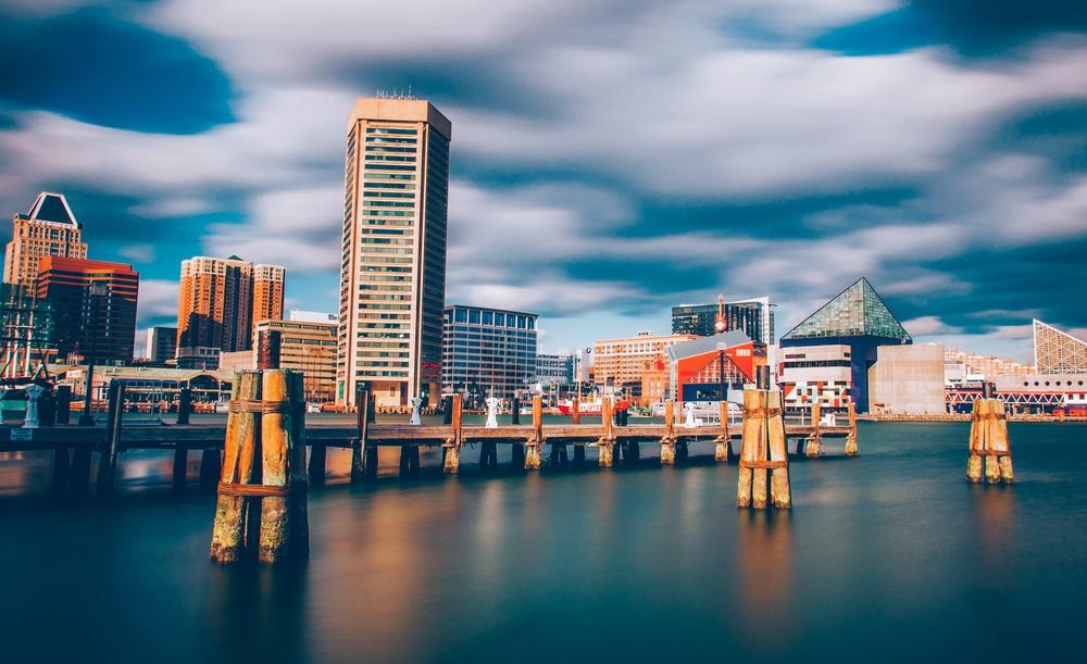 Mid-day long exposure of the Baltimore Inner Harbor Skyline.jpeg
