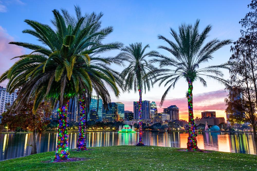 Orlando, Florida, USA downtown skyline at Eola Lake..jpeg
