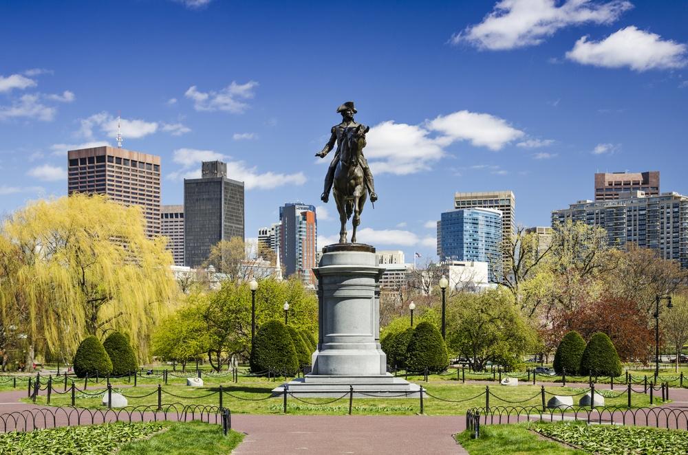 Boston, Massachusetts at the Public Garden in the spring time.-1